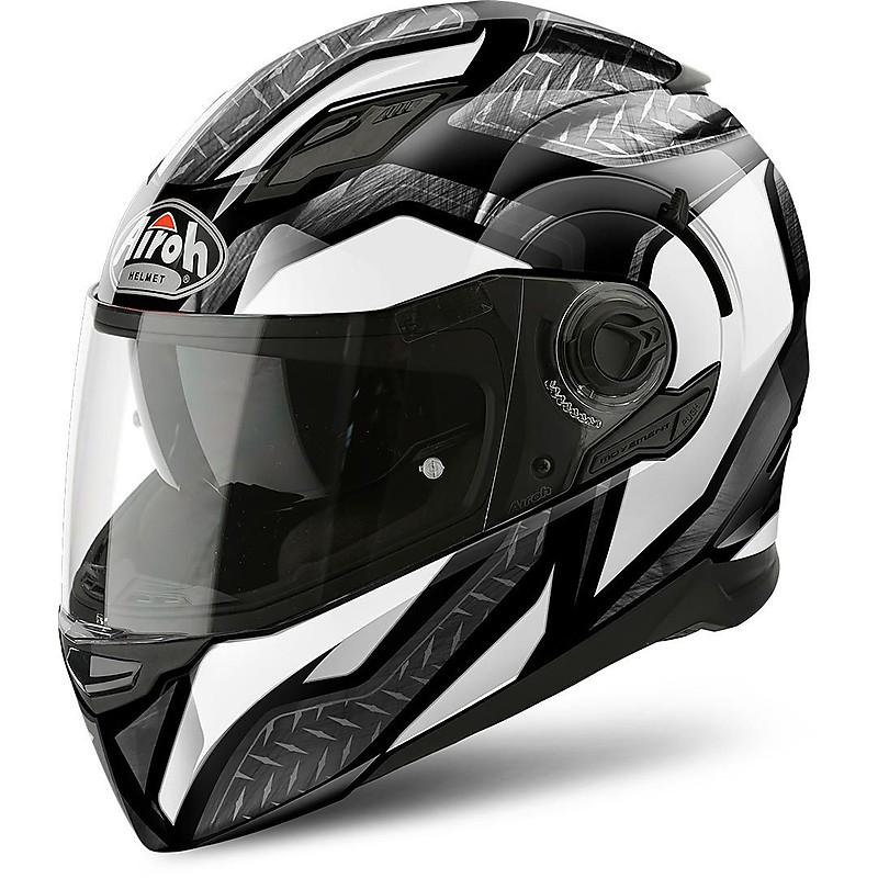 882622409dded Casco Moto Integrale Airoh movement S Steel Nero Bianco Lucido